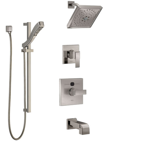 Delta Ara Stainless Steel Finish Tub and Shower System with Temp2O Control, 3-Setting Diverter, Showerhead, and Hand Shower with Slidebar SS14401SS5