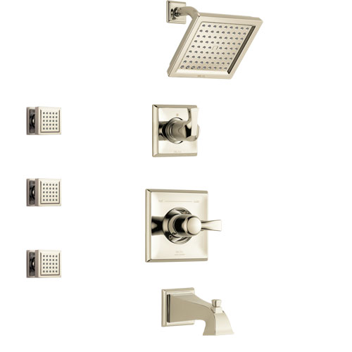 Delta Dryden Polished Nickel Finish Tub and Shower System with Control Handle, 3-Setting Diverter, Showerhead, and 3 Body Sprays SS144511PN1