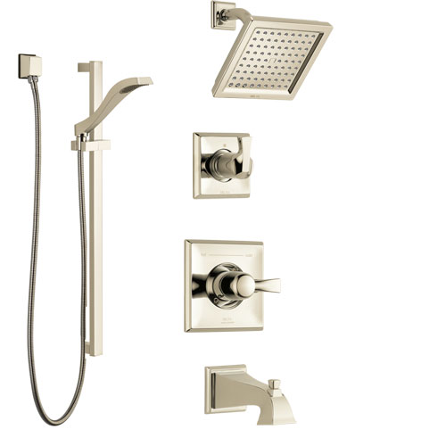 Delta Dryden Polished Nickel Tub and Shower System with Control Handle, 3-Setting Diverter, Showerhead, and Hand Shower with Slidebar SS144511PN2