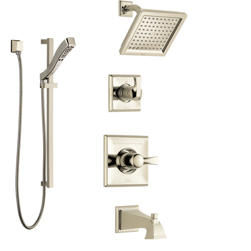 Delta Dryden Polished Nickel Tub and Shower System with Control Handle, 3-Setting Diverter, Showerhead, and Hand Shower with Slidebar SS144511PN3