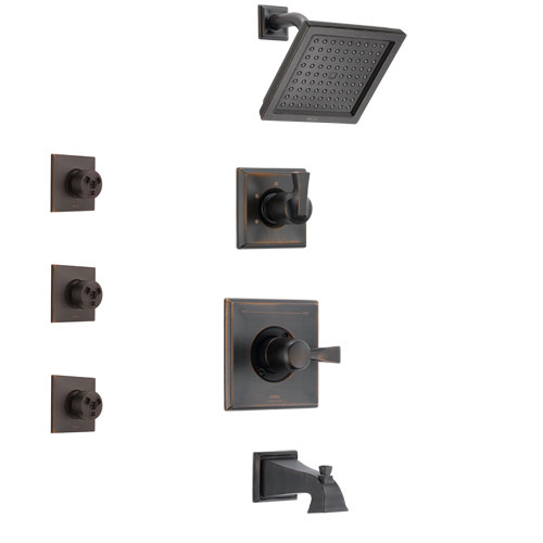 Delta Dryden Venetian Bronze Finish Tub and Shower System with Control Handle, 3-Setting Diverter, Showerhead, and 3 Body Sprays SS144511RB1