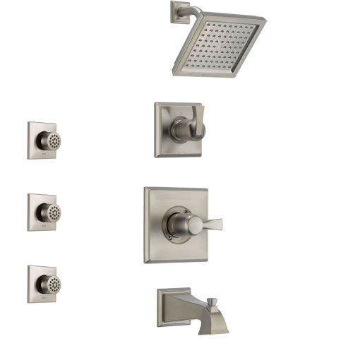 Delta Dryden Stainless Steel Finish Tub and Shower System with Control Handle, 3-Setting Diverter, Showerhead, and 3 Body Sprays SS144511SS1