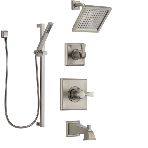 Delta Dryden Stainless Steel Finish Tub and Shower System with Control Handle, Diverter, Showerhead, and Hand Shower with Slidebar SS144511SS4