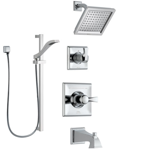 Delta Dryden Chrome Finish Tub and Shower System with Control Handle, 3-Setting Diverter, Showerhead, and Hand Shower with Slidebar SS1445126