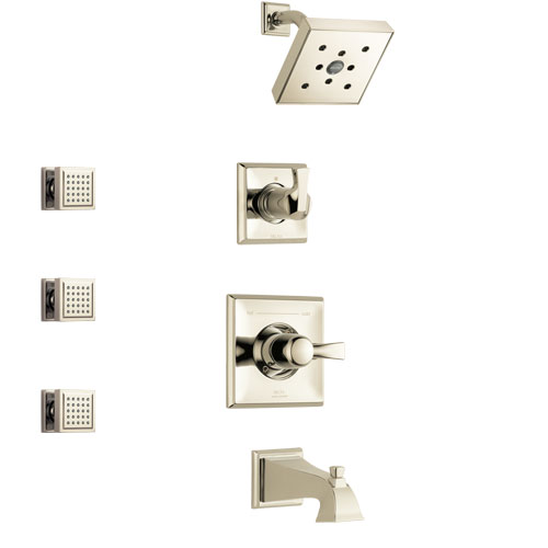 Delta Dryden Polished Nickel Finish Tub and Shower System with Control Handle, 3-Setting Diverter, Showerhead, and 3 Body Sprays SS144512PN1