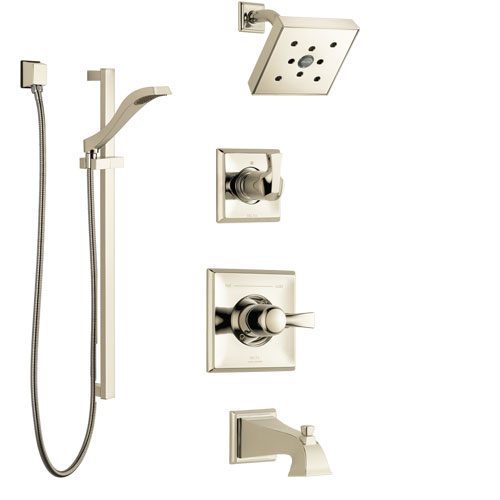 Delta Dryden Polished Nickel Tub and Shower System with Control Handle, 3-Setting Diverter, Showerhead, and Hand Shower with Slidebar SS144512PN2