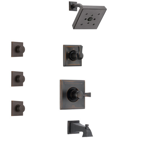 Delta Dryden Venetian Bronze Finish Tub and Shower System with Control Handle, 3-Setting Diverter, Showerhead, and 3 Body Sprays SS144512RB2