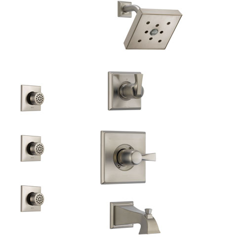 Delta Dryden Stainless Steel Finish Tub and Shower System with Control Handle, 3-Setting Diverter, Showerhead, and 3 Body Sprays SS144512SS2