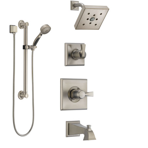 Delta Dryden Stainless Steel Finish Tub and Shower System with Control Handle, Diverter, Showerhead, and Hand Shower with Grab Bar SS144512SS3