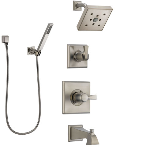 Delta Dryden Stainless Steel Finish Tub and Shower System with Control Handle, Diverter, Showerhead, and Hand Shower with Wall Bracket SS144512SS4