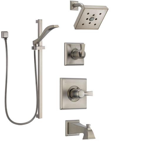 Delta Dryden Stainless Steel Finish Tub and Shower System with Control Handle, Diverter, Showerhead, and Hand Shower with Slidebar SS144512SS5