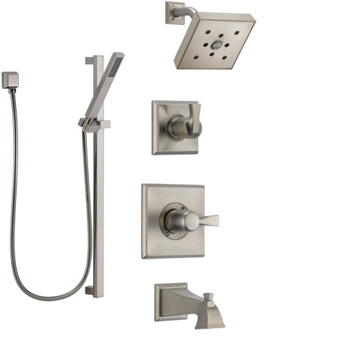 Delta Dryden Stainless Steel Finish Tub and Shower System with Control Handle, Diverter, Showerhead, and Hand Shower with Slidebar SS144512SS6