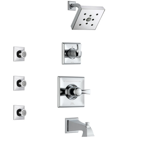 Delta Dryden Chrome Finish Tub and Shower System with Control Handle, 3-Setting Diverter, Showerhead, and 3 Body Sprays SS1445131