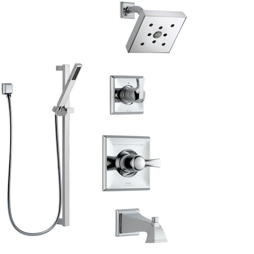 Delta Dryden Chrome Finish Tub and Shower System with Control Handle, 3-Setting Diverter, Showerhead, and Hand Shower with Slidebar SS1445135