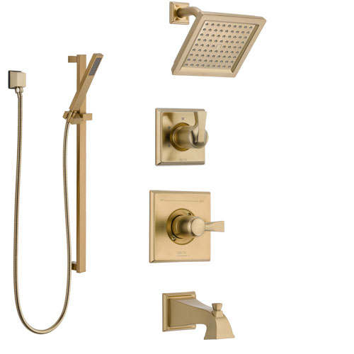 Delta Dryden Champagne Bronze Tub and Shower System with Control Handle, 3-Setting Diverter, Showerhead, and Hand Shower with Slidebar SS14451CZ2
