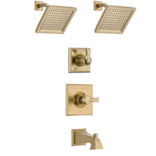 Delta Dryden Champagne Bronze Finish Tub and Shower System with Control Handle, 3-Setting Diverter, 2 Showerheads SS14451CZ4