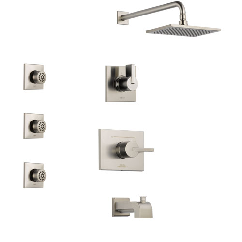 Delta Vero Stainless Steel Finish Tub and Shower System with Control Handle, 3-Setting Diverter, Showerhead, and 3 Body Sprays SS144531SS1
