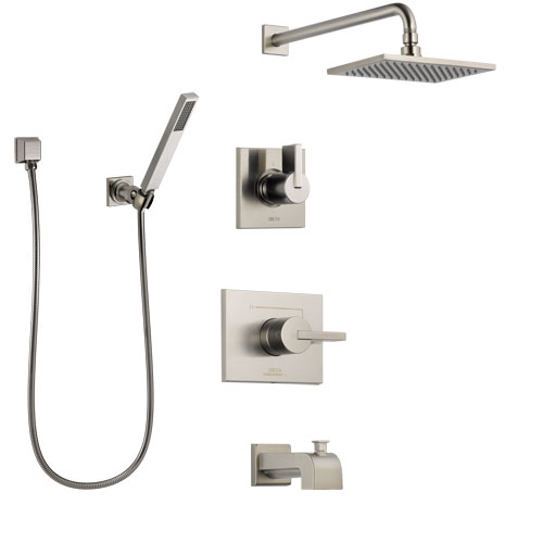 Delta Vero Stainless Steel Finish Tub and Shower System with Control Handle, Diverter, Showerhead, and Hand Shower with Wall Bracket SS144531SS4