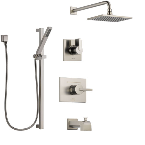 Delta Vero Stainless Steel Finish Tub and Shower System with Control Handle, 3-Setting Diverter, Showerhead, and Hand Shower with Slidebar SS144531SS5