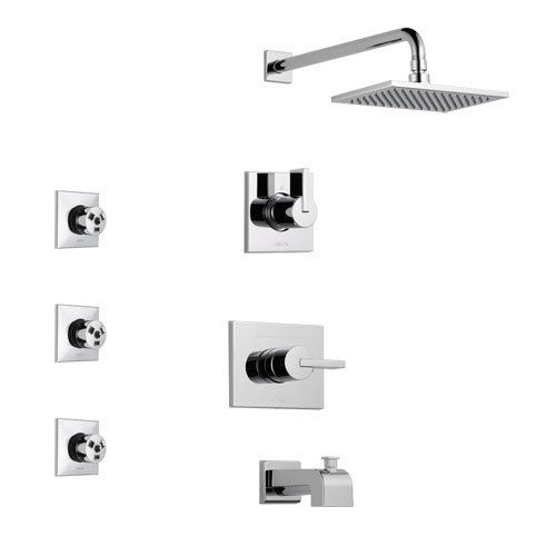 Delta Vero Chrome Finish Tub and Shower System with Control Handle, 3-Setting Diverter, Showerhead, and 3 Body Sprays SS1445322