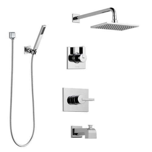 Delta Vero Chrome Finish Tub and Shower System with Control Handle, 3-Setting Diverter, Showerhead, and Hand Shower with Wall Bracket SS1445324