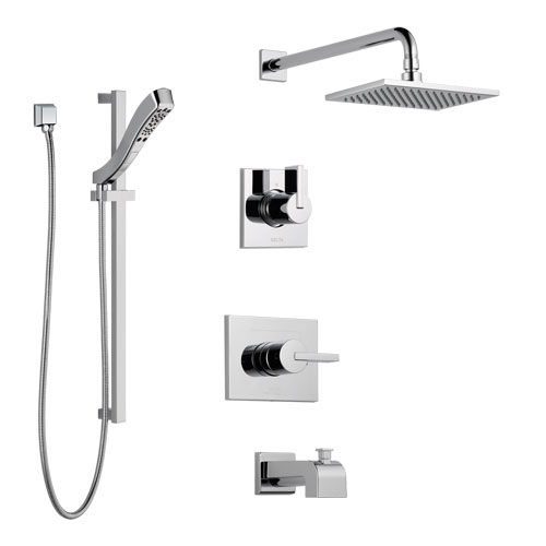 Delta Vero Chrome Finish Tub and Shower System with Control Handle, 3-Setting Diverter, Showerhead, and Hand Shower with Slidebar SS1445326