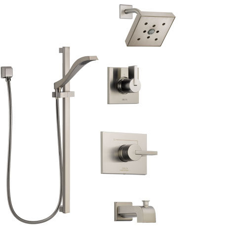 Delta Vero Stainless Steel Finish Tub and Shower System with Control Handle, 3-Setting Diverter, Showerhead, and Hand Shower with Slidebar SS144532SS4