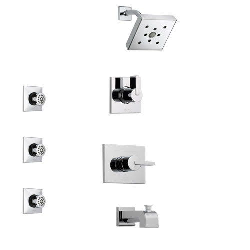 Delta Vero Chrome Finish Tub and Shower System with Control Handle, 3-Setting Diverter, Showerhead, and 3 Body Sprays SS1445331