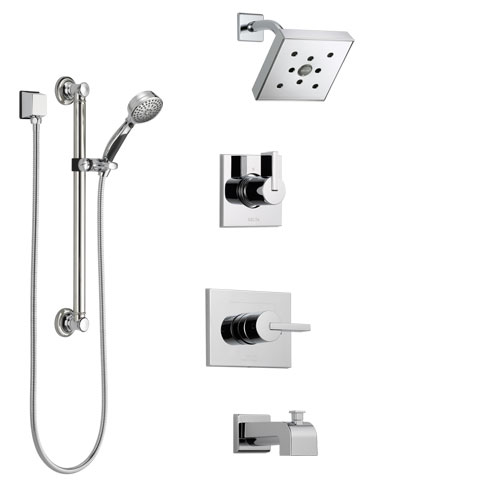 Delta Vero Chrome Finish Tub and Shower System with Control Handle, 3-Setting Diverter, Showerhead, and Hand Shower with Grab Bar SS1445333