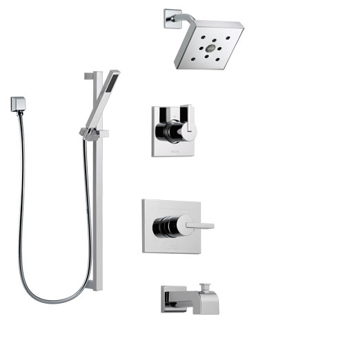 Delta Vero Chrome Finish Tub and Shower System with Control Handle, 3-Setting Diverter, Showerhead, and Hand Shower with Slidebar SS1445334