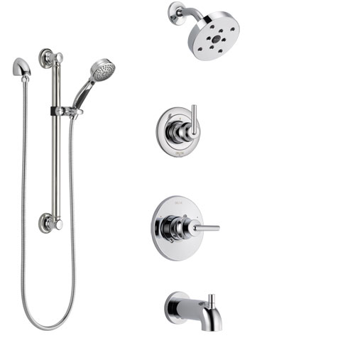 Delta Trinsic Chrome Finish Tub and Shower System with Control Handle, 3-Setting Diverter, Showerhead, and Hand Shower with Grab Bar SS144593