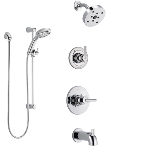 Delta Trinsic Chrome Finish Tub and Shower System with Control Handle, 3-Setting Diverter, Showerhead, and Temp2O Hand Shower with Slidebar SS144594