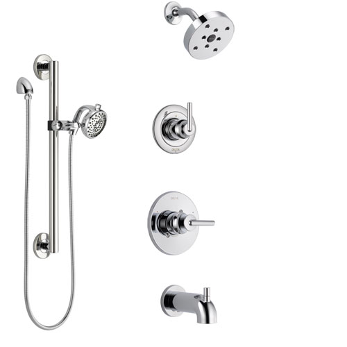 Delta Trinsic Chrome Finish Tub and Shower System with Control Handle, 3-Setting Diverter, Showerhead, and Hand Shower with Grab Bar SS144595