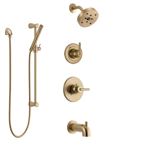 Delta Trinsic Champagne Bronze Tub and Shower System with Control Handle, 3-Setting Diverter, Showerhead, and Hand Shower with Slidebar SS14459CZ2