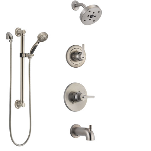 Delta Trinsic Stainless Steel Finish Tub and Shower System with Control Handle, Diverter, Showerhead, and Hand Shower with Grab Bar SS14459SS3
