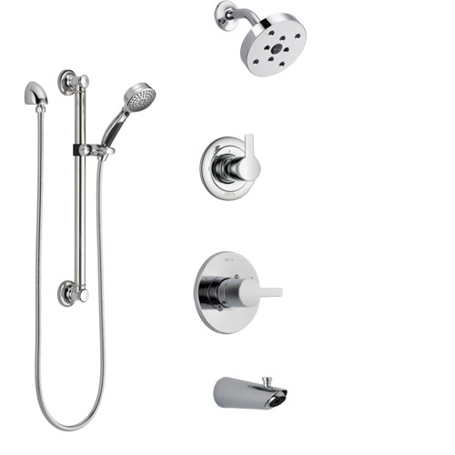 Delta Compel Chrome Finish Tub and Shower System with Control Handle, 3-Setting Diverter, Showerhead, and Hand Shower with Grab Bar SS144613