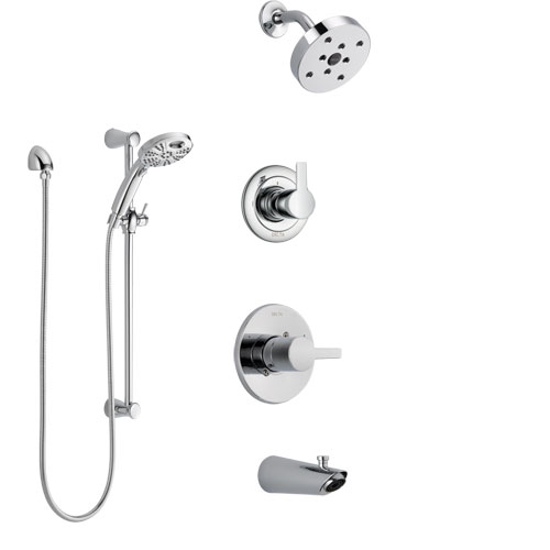 Delta Compel Chrome Finish Tub and Shower System with Control Handle, 3-Setting Diverter, Showerhead, and Temp2O Hand Shower with Slidebar SS144614