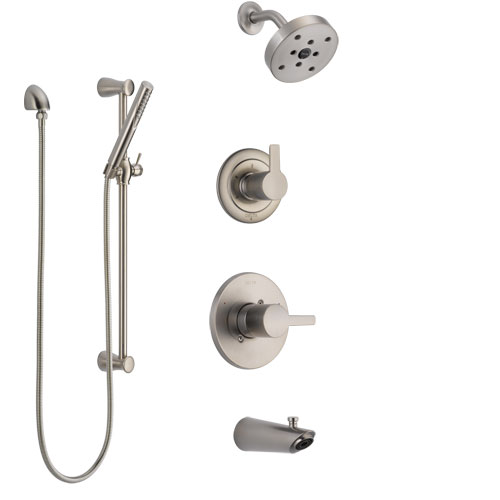 Delta Compel Stainless Steel Finish Tub and Shower System with Control Handle, Diverter, Showerhead, and Hand Shower with Slidebar SS14461SS5