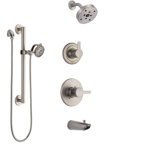 Delta Compel Stainless Steel Finish Tub and Shower System with Control Handle, Diverter, Showerhead, and Hand Shower with Grab Bar SS14461SS6