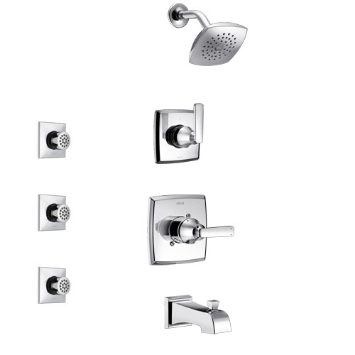 Delta Ashlyn Chrome Finish Tub and Shower System with Control Handle, 3-Setting Diverter, Showerhead, and 3 Body Sprays SS144641