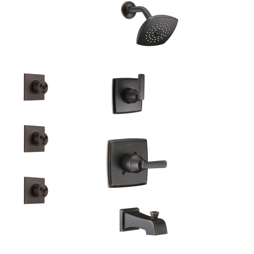 Delta Ashlyn Venetian Bronze Finish Tub and Shower System with Control Handle, 3-Setting Diverter, Showerhead, and 3 Body Sprays SS14464RB1