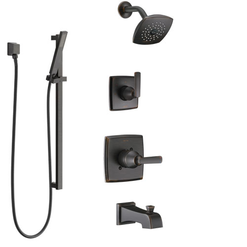 Delta Ashlyn Venetian Bronze Tub and Shower System with Control Handle, 3-Setting Diverter, Showerhead, and Hand Shower with Slidebar SS14464RB4