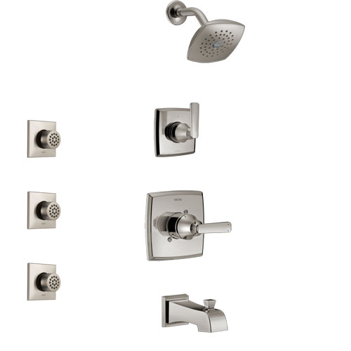Delta Ashlyn Stainless Steel Finish Tub and Shower System with Control Handle, 3-Setting Diverter, Showerhead, and 3 Body Sprays SS14464SS2