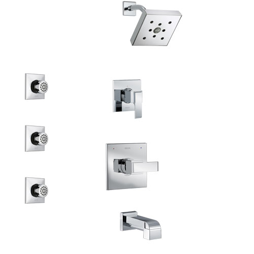 Delta Ara Chrome Finish Tub and Shower System with Control Handle, 3-Setting Diverter, Showerhead, and 3 Body Sprays SS144671