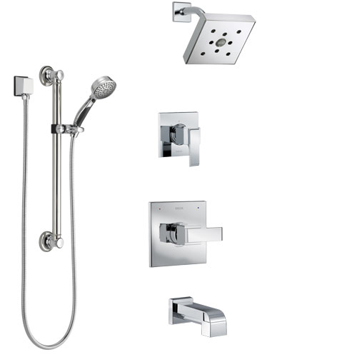 Delta Ara Chrome Finish Tub and Shower System with Control Handle, 3-Setting Diverter, Showerhead, and Hand Shower with Grab Bar SS144673