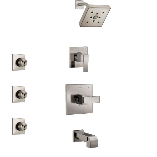 Delta Ara Stainless Steel Finish Tub and Shower System with Control Handle, 3-Setting Diverter, Showerhead, and 3 Body Sprays SS14467SS1