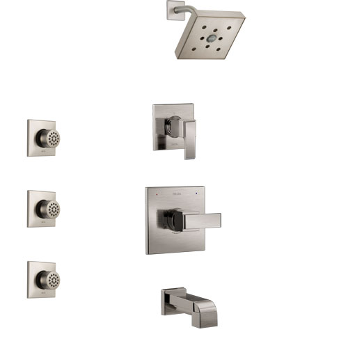 Delta Ara Stainless Steel Finish Tub and Shower System with Control Handle, 3-Setting Diverter, Showerhead, and 3 Body Sprays SS14467SS2