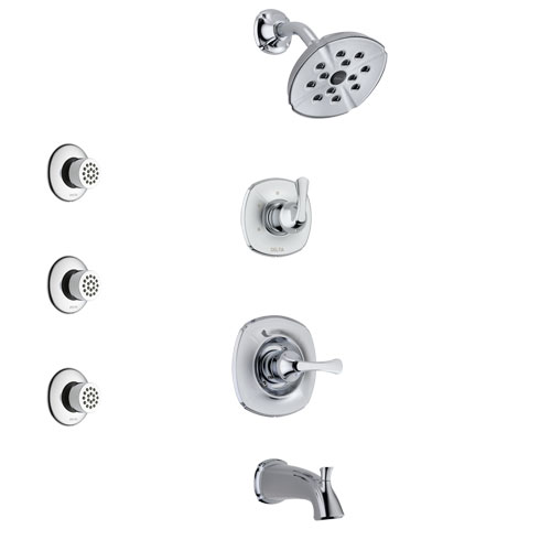 Delta Addison Chrome Finish Tub and Shower System with Control Handle, 3-Setting Diverter, Showerhead, and 3 Body Sprays SS144921