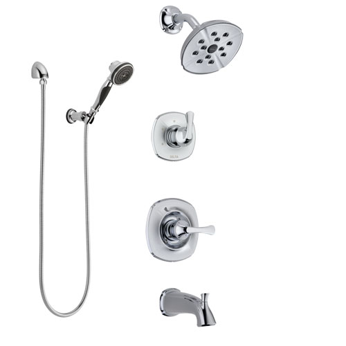 Delta Addison Chrome Finish Tub and Shower System with Control Handle, 3-Setting Diverter, Showerhead, and Hand Shower with Wall Bracket SS144926