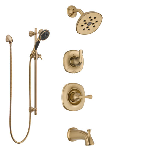 Delta Addison Champagne Bronze Tub and Shower System with Control Handle, 3-Setting Diverter, Showerhead, and Hand Shower with Slidebar SS14492CZ2